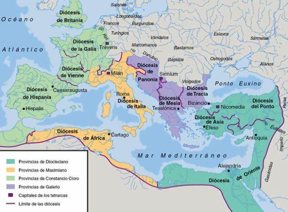 O mapa mostra a parte correspondente a cada tetrarca, com a divisão das dioceses e a localização das capitais.